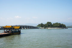 Asian China, Beijing, the Summer Palace, The 17-Arch Bridge Stock Photography