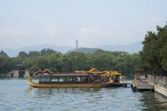 Asian China, Beijing, the Summer Palace, Kunming lake, boats Royalty Free Stock Photos