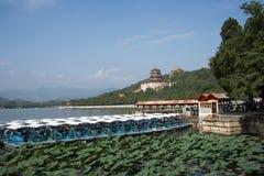 Asian China, Beijing, the Summer Palace, Kunming lake, boats Stock Images