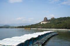 Asian China, Beijing, the Summer Palace, Kunming lake, boats Royalty Free Stock Photo