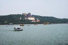 Asian China, Beijing, the Summer Palace, Kunming lake and the tower of Buddhist incense Royalty Free Stock Photography