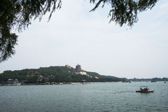 Asian China, Beijing, the Summer Palace, Kunming lake and the tower of Buddhist incense Royalty Free Stock Images