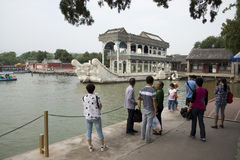 Asian China, Beijing, the Summer Palace, stone boat Royalty Free Stock Photos