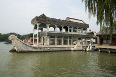 Asian China, Beijing, the Summer Palace, stone boat Royalty Free Stock Images