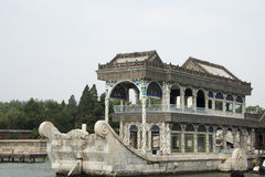 Asian China, Beijing, the Summer Palace, stone boat Royalty Free Stock Photography
