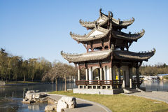 Asian China, Beijing, Taoranting Park, winter landscape, pavilions, terraces and open halls Royalty Free Stock Image