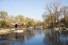 Asian China, Beijing, Taoranting Park, winter landscape, pavilions, terraces and open halls Royalty Free Stock Photography