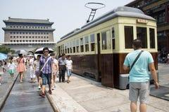 Asian China, Beijing, Zhengyang Jianlou, clank clank cars Stock Photos