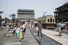 Asian China, Beijing, Zhengyang Jianlou, clank clank cars Stock Images