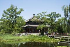 Asian China, royal garden, Old Summer Palace ,Jianbi Pavilion(Pavilion in a Blue Mirror), Stock Photography