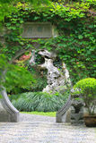 Asian Chinese ancient garden, beautiful landscape, stone archway. Stock Images