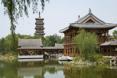 Asian Chinese, antique buildings, pavilions, terraces and open halls, towers of Wenfeng Stock Photo