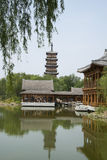 Asian Chinese, antique buildings, pavilions, terraces and open halls, towers of Wenfeng Royalty Free Stock Photos