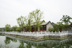 Asian Chinese antique buildings, white marble rail Royalty Free Stock Images