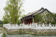Asian Chinese antique buildings, white marble rail Royalty Free Stock Image
