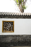Asian Chinese antique buildings, white walls, tile. Asian Chinese Beijing Garden Expo antique buildings, white walls and gray tiles, and carved wooden window Stock Image