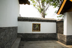 Asian Chinese antique buildings, white walls, tile Royalty Free Stock Photos