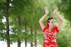 Asian Chinese beauty belly dancer dancing Stock Photography