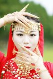 Pretty Asian Chinese belly dancer face and gesture close up Stock Photo