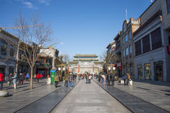 Asian Chinese, Beijing, antique buildings, Qianmen Commercial Street Royalty Free Stock Photo