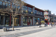 Asian Chinese, Beijing, antique buildings, Qianmen Commercial Street Royalty Free Stock Images