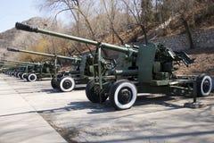 Asian Chinese, Beijing Aviation Museum,Antiaircraft artillery Stock Photo