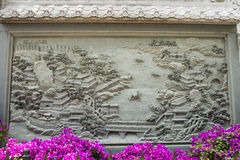Asian Chinese, Beijing Badachu Park, wall reliefs, Stock Photo