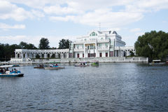 Asian Chinese, Beijing, Chaoyang Park, the European style buildings, the lake, cruise, scenic Stock Image