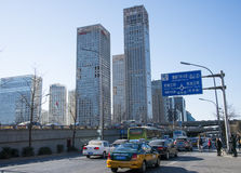 Asian Chinese, Beijing, city traffic and construction Royalty Free Stock Photo
