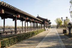 Asian Chinese, Beijing, the Grande Canale Forest Park, the long corridor, Pavilion Royalty Free Stock Photos