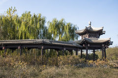 Asian Chinese, Beijing, the Grande Canale Forest Park, the long corridor, Pavilion Stock Photo