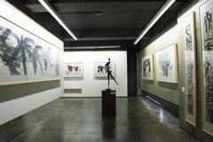Asian Chinese, Beijing, Han Meilin Art Museum, The exhibition hall, modern architecture Stock Images