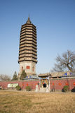 Asian Chinese, Beijing, historic buildings, a Buddhist monastery, Tongzhou Sanjiao Temple Stock Images