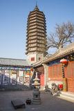 Asian Chinese, Beijing, historic buildings, a Buddhist monastery, Tongzhou Sanjiao Temple Royalty Free Stock Photos