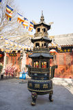 Asian Chinese, Beijing, historic buildings, a Buddhist monastery, Tongzhou Sanjiao Temple Stock Image