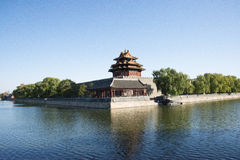 Asian Chinese, Beijing, historic buildings, the Imperial Palace watchtower, moat, Royalty Free Stock Image