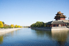 Asian Chinese, Beijing, historic buildings, the Imperial Palace watchtower, moat, Stock Images