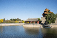 Asian Chinese, Beijing, historic buildings, the Imperial Palace watchtower, moat, Stock Photography