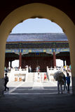 Asian Chinese, Beijing, historic buildings, the Tiantan,qinian  the door Stock Photography