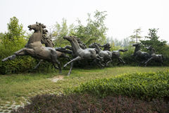 Asian Chinese, Beijing, International Sculpture Park, running horse Royalty Free Stock Images