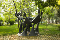Asian Chinese, Beijing, International Sculpture Park, singing in antiphonal style Stock Photography