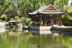 Asian Chinese, Beijing, Longtan Lake Park, antique buildings Royalty Free Stock Photo