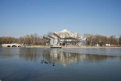 Asian Chinese, Beijing, Longtan Lake Park,Center island Theatre Stock Image