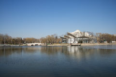 Asian Chinese, Beijing, Longtan Lake Park,Center island Theatre Royalty Free Stock Photo