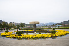 Asian Chinese, Beijing, Mentougou, Yongding River culture square, flower bed Royalty Free Stock Images
