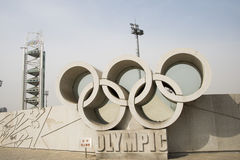 Asian Chinese, Beijing Olympic Park, medals, wall, the Olympic rings Stock Photography