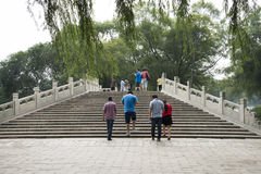 Asian Chinese, Beijing, the Summer Palace, bridge, rail Stock Image