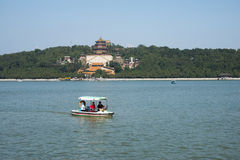 Asian Chinese, Beijing, the Summer Palace, Kunming lake, incense, cruise Stock Photography