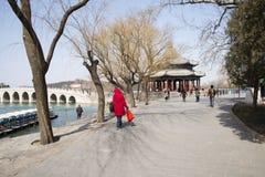 Asian Chinese, Beijing, the Summer Palace, lang ru ting Royalty Free Stock Photography