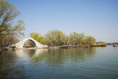 Asian Chinese, Beijing, the Summer Palace, the scenery and the stone bridge Stock Photography